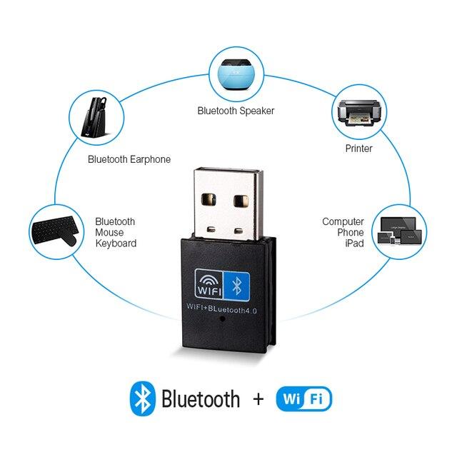 Sans fil WiFi Bluetooth adaptateur 150Mbps USB WiFi adaptateur récepteur 2.4G Bluetooth V4.0 carte réseau émetteur IEEE 802.11b/g/n 4