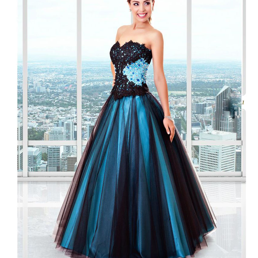 Blue And Black Prom Dresses Long 2017 Sweetheart Lace Appliques Beaded Removable Skirt Prom Dresses 2 in 1 Dresses