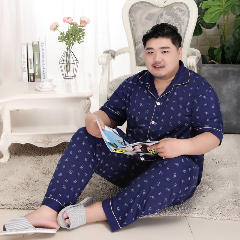 Men's Summer Cotton Short-sleeved Trousers And Tops Pajamas Set For Men Weight 200 Kg Homewear Lapel Leisurewear Suit
