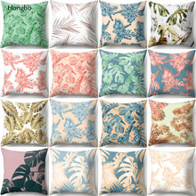Hongbo Tropical Rainforest Plant Leaves Polyester Sofa Cushion Cover Leaf Wedding Decoration Pillow Case chair