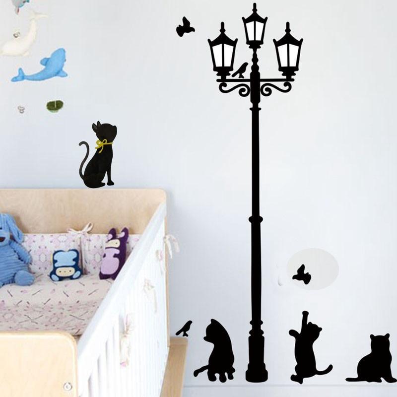 New Hot Naughty Cats Birds and Street light Lamp Post Wall Stickers home decoration School Room Kindergarten Wall Sticker @026