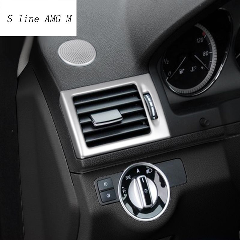 Car Styling AC Front Air Outlet Trim Frame Decoration Stickers Covers For Mercedes Benz C Class W204 Interior Auto Accessories