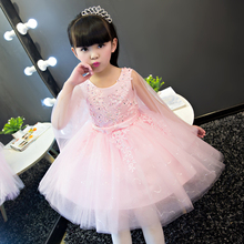 2017Korean Sweet New Kids Girls Embroidery Flower Petals Princess Dress Children Bridesmaid  Elegant Dress Pageant Formal Party