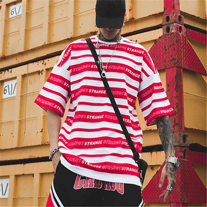 Bebovizi Stripe Letter Printed Short Sleeve T Shirt Hip Hop Casual T Shirts 2019 Summer Cotton Oversized Tees Streetwear Tshirts in T Shirts from Men 39 s Clothing