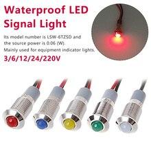 Водонепроницаемое металлическое монтажное отверстие 8 мм светодиодный Предупреждение ющий сигнальная светового Индикатора лампа Pilot Wire 3 V 6 V 12 V 24 V 220 V