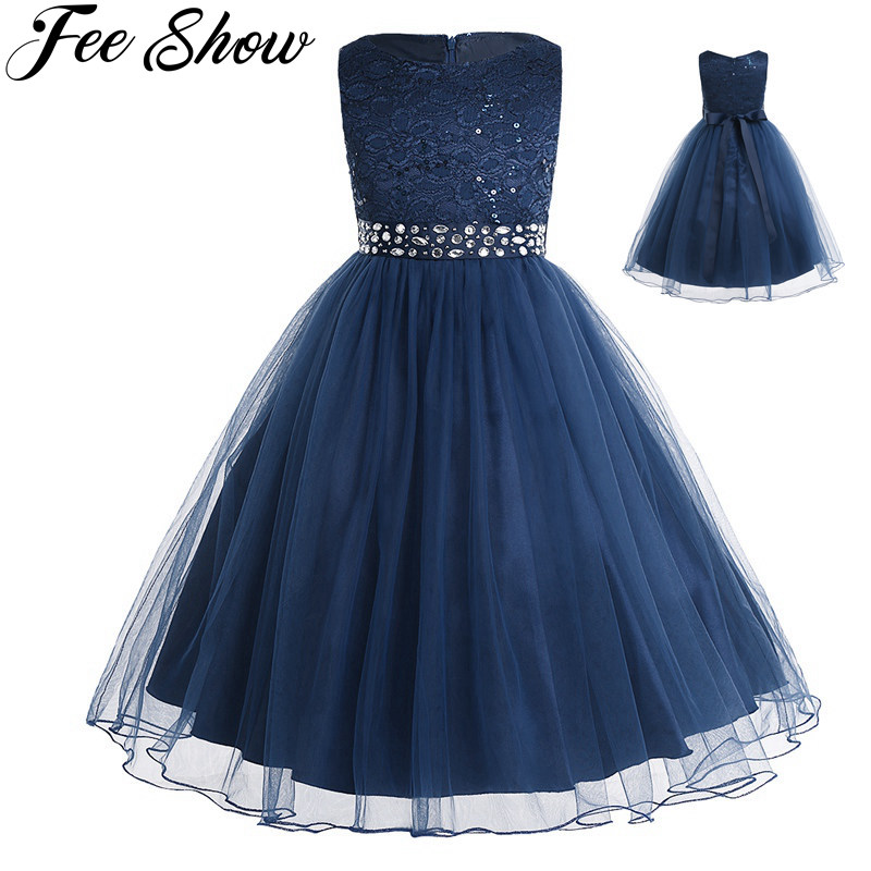 Ball-Gown Dress Birthday-Party-Dress Wedding Girls Teen Children's Tutu Lace Kids 2-14-Years