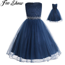 Teen Princess Dress Girls Vestido Wedding Lace Mesh Ball Gown Dress 2 14 Years Childrens Kids Tutu Birthday Party Dress
