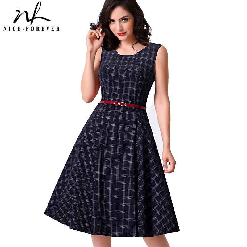 Buy Cheap Nice-forever New Brief Elegant Ladylike Vintage Charming With Belt Print Geometry Sleeveless Ball Gown Formal Woman Dress A011