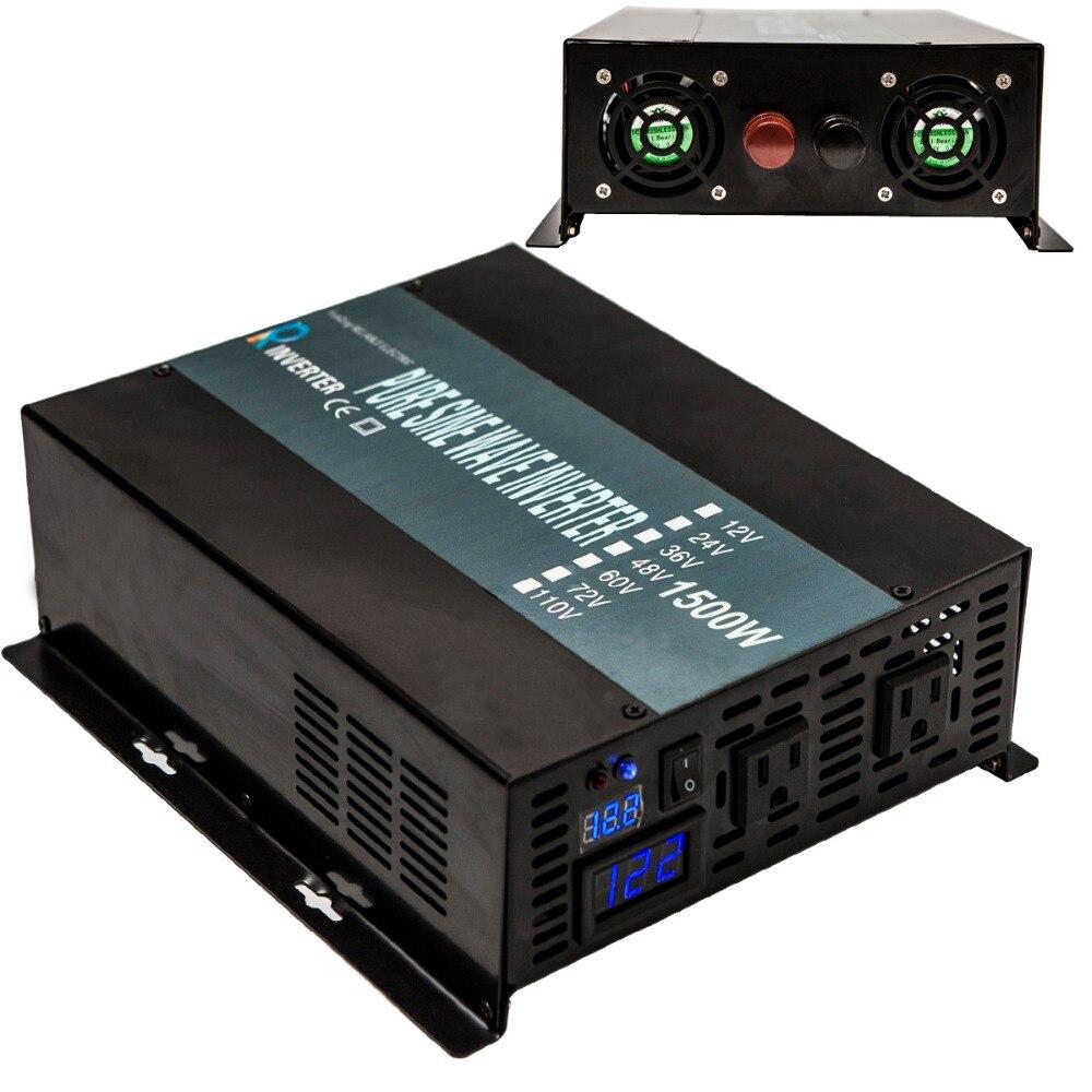 Onduleur solaire hors réseau 1500 W 12 V 24 V 48 V DC à 110 V 120 V 240 V AC pur onduleur à onde sinusoïdale système solaire batterie affichage numérique