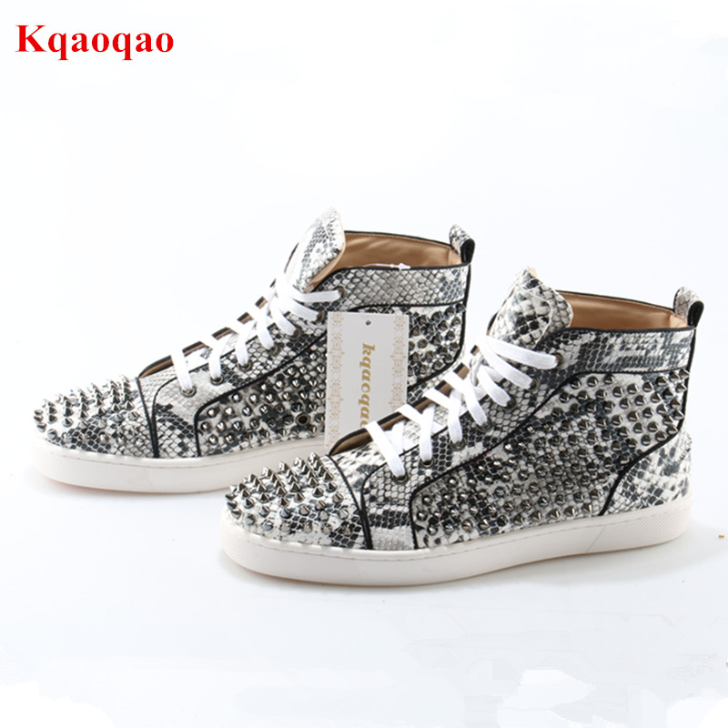 New Sapato Masculino Embossed Python Leather Spikes Studded Cool Men Casual Shoes Mens High-Top Lace Up Flats Trainers Men Shoes