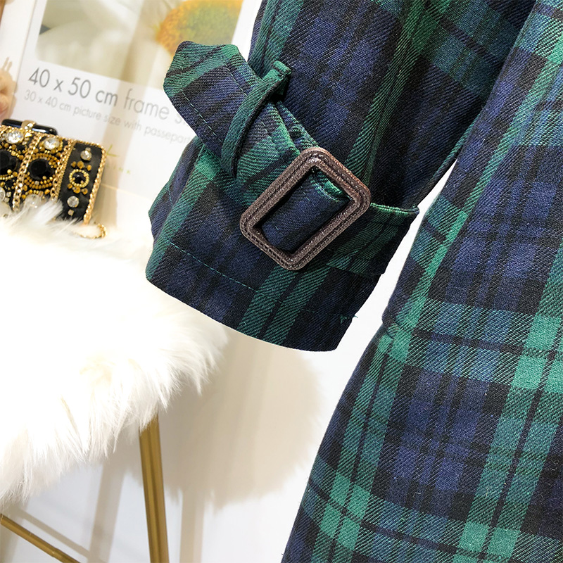 5XL ใหม่ Elegant ผู้หญิงลายสก๊อต Trench ขนาดใหญ่เสื้อคู่หน้าอก 2018 ฤดูใบไม้ร่วง Vintage เข็มขัด Outwear หลวมฤดูหนาวเสื้อผ้า O21 1-ใน โค้ทยาว จาก เสื้อผ้าสตรี บน   3