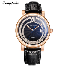 LONGPETER Mens Watches Top Brand Luxury 2016 Fashion Design Leather Band Business Watch Men 3ATM Waterproof Quartz Wristwatches