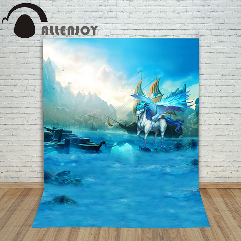 Allenjoy photography theme background Mermaid legend Ocean unicorn ship sky backdrop mysterious vinyl photocall Professional
