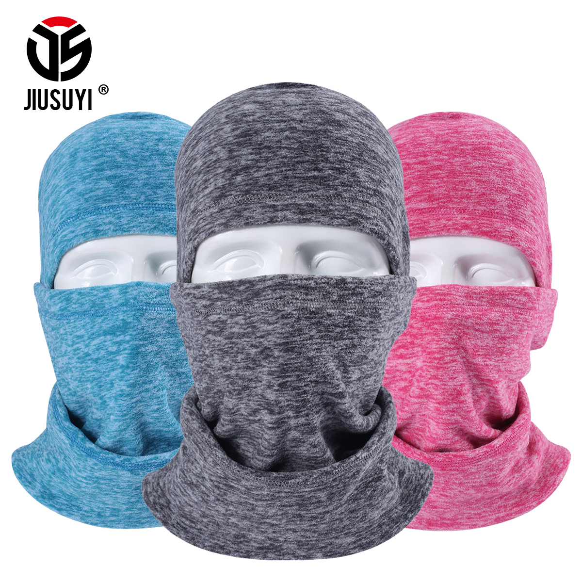 Wool Fabric Fleece Thermal Winter Balaclava Keep Neck Warmer Full Face Mask Bicycle Snowboard Knit Adjustable With Drawstring