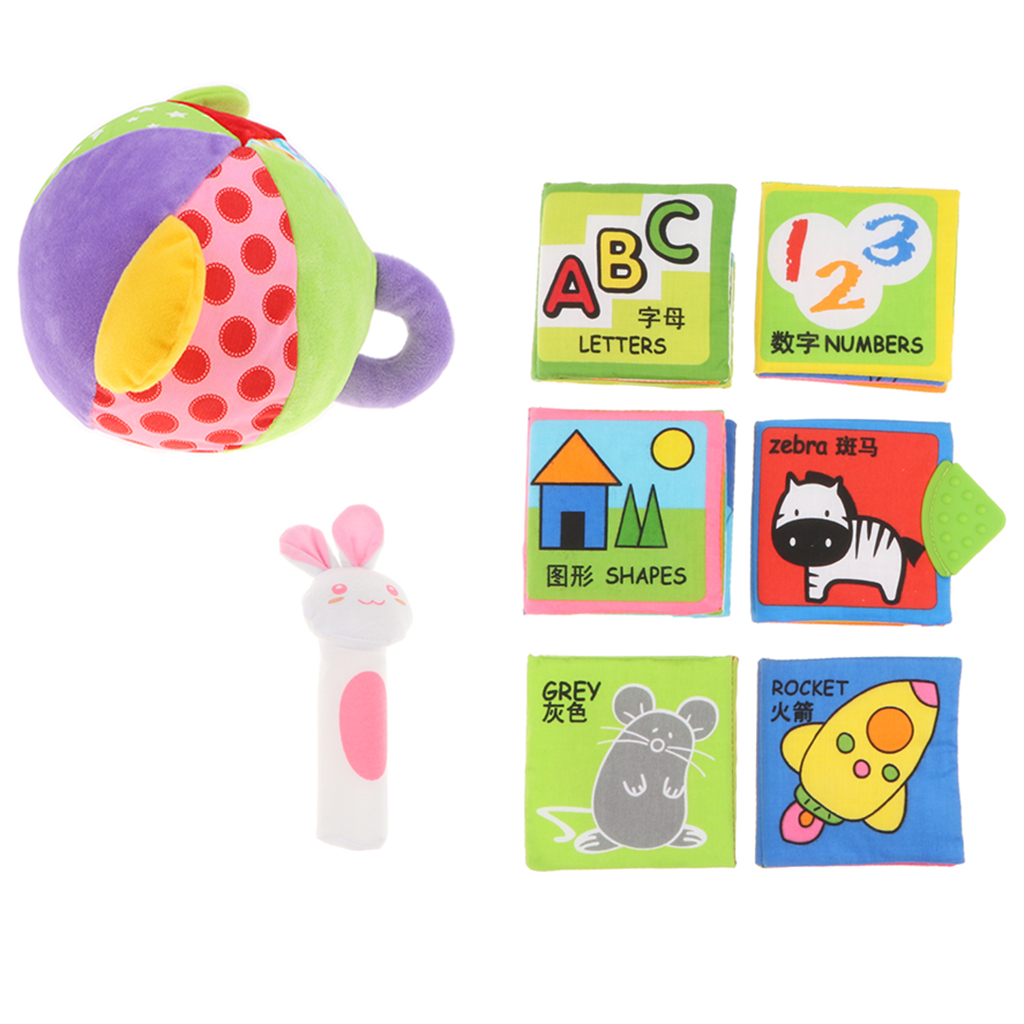 8pcs Baby Soft Cloth Books & Rattle BB Bar Squeaker Infant Toddler Number Letter Animal Cognition Developmental Sensory Toy