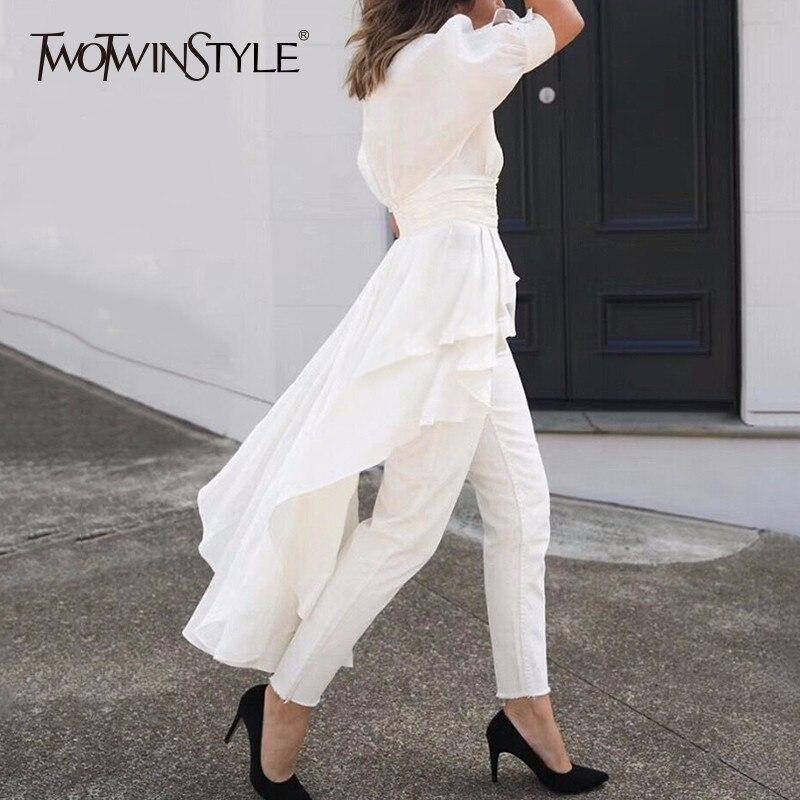 TWOTWINSTYLE Asymmetrical Shirt For Women V Neck Tunic High Waist Ruffles Long Blouse 2019 Summer Fashion
