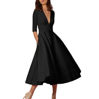 Winter Women Dress Vestidos European Spring Maxi Elegant Dress Deep V Half Sleeve Long Dress Elegant