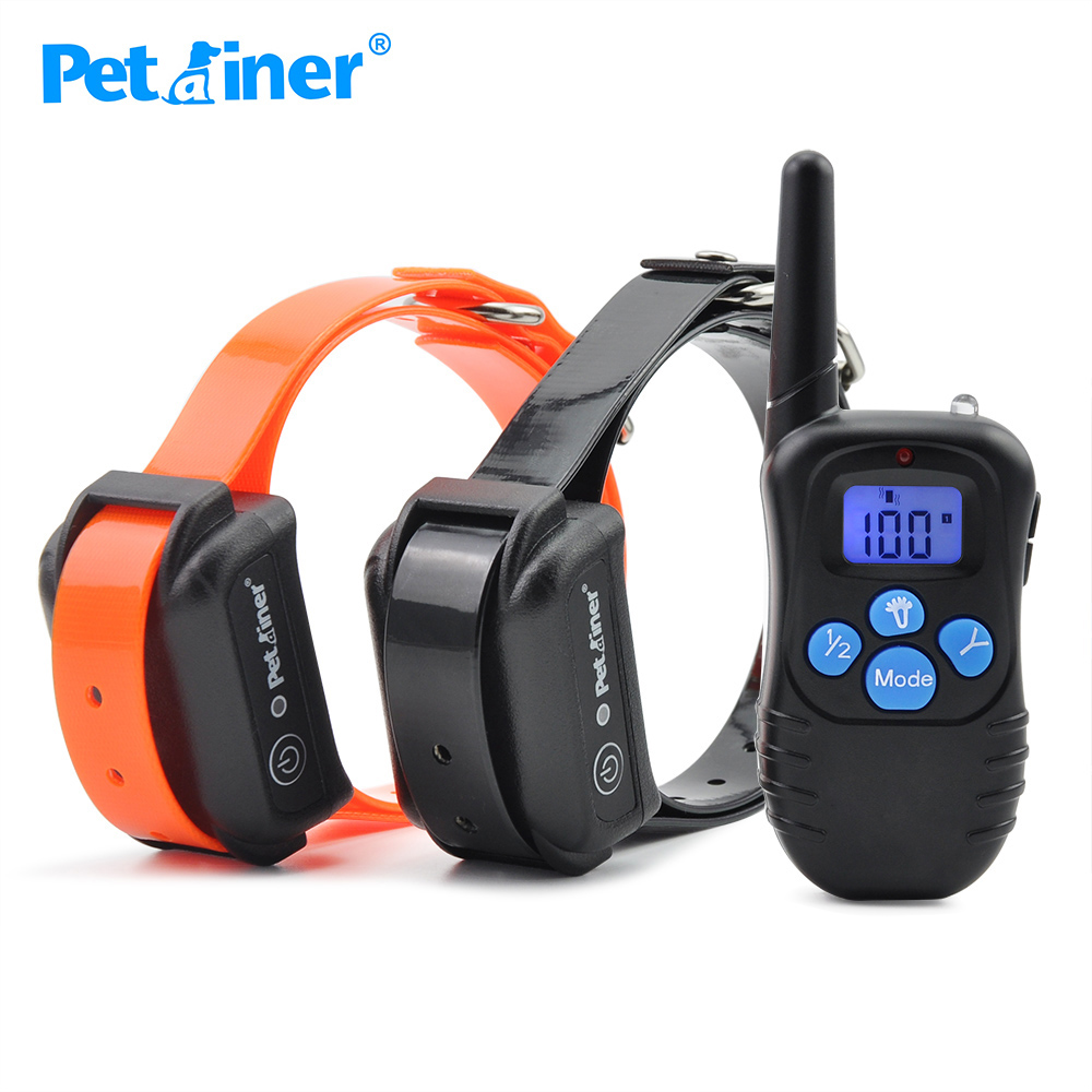 Petrainer 998DBB 2 Remote Dog Training Electronic Rechargeable Waterproof Shock 300M Remote Control For Two Dogs