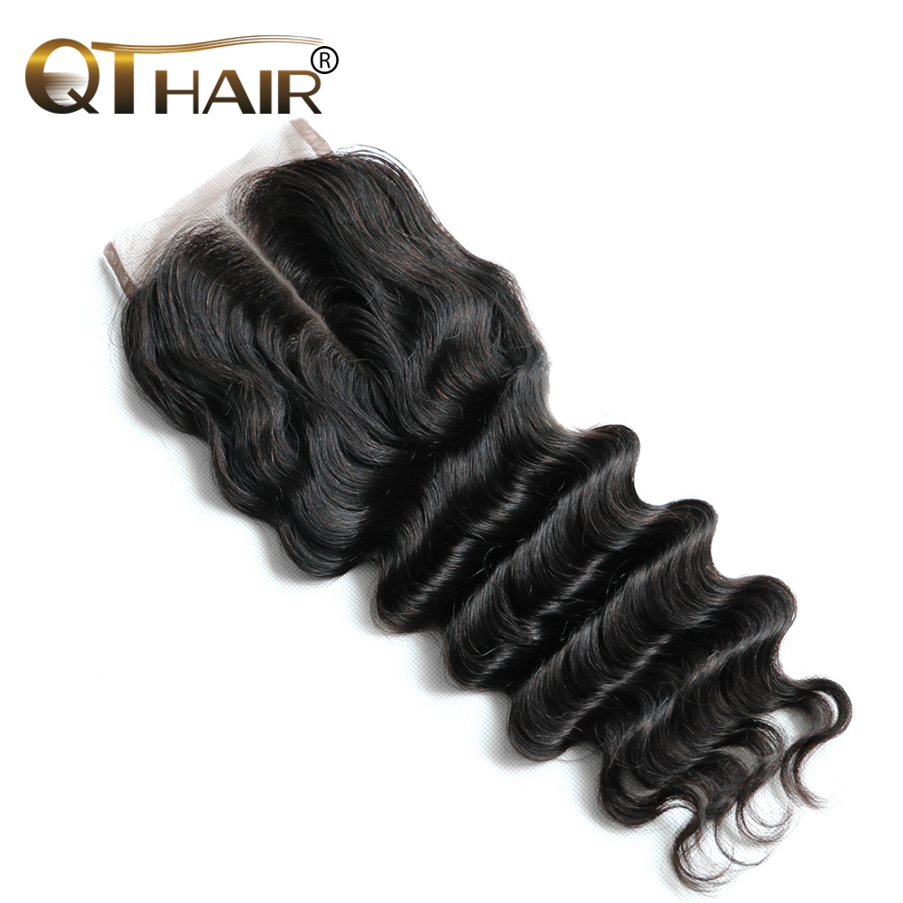 QThair Peruvian Remy Hair Lace Closure Loose Wave Human Hair 4X4 Swiss Lace with Baby Hair Middle Part Shipping Free