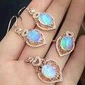 Deslumbrante ópalo de la joyería de 8mm * 10mm 100% anillo de ópalo natural de gota pendientes y collar colgante conjunto sólido joyería de plata esterlina