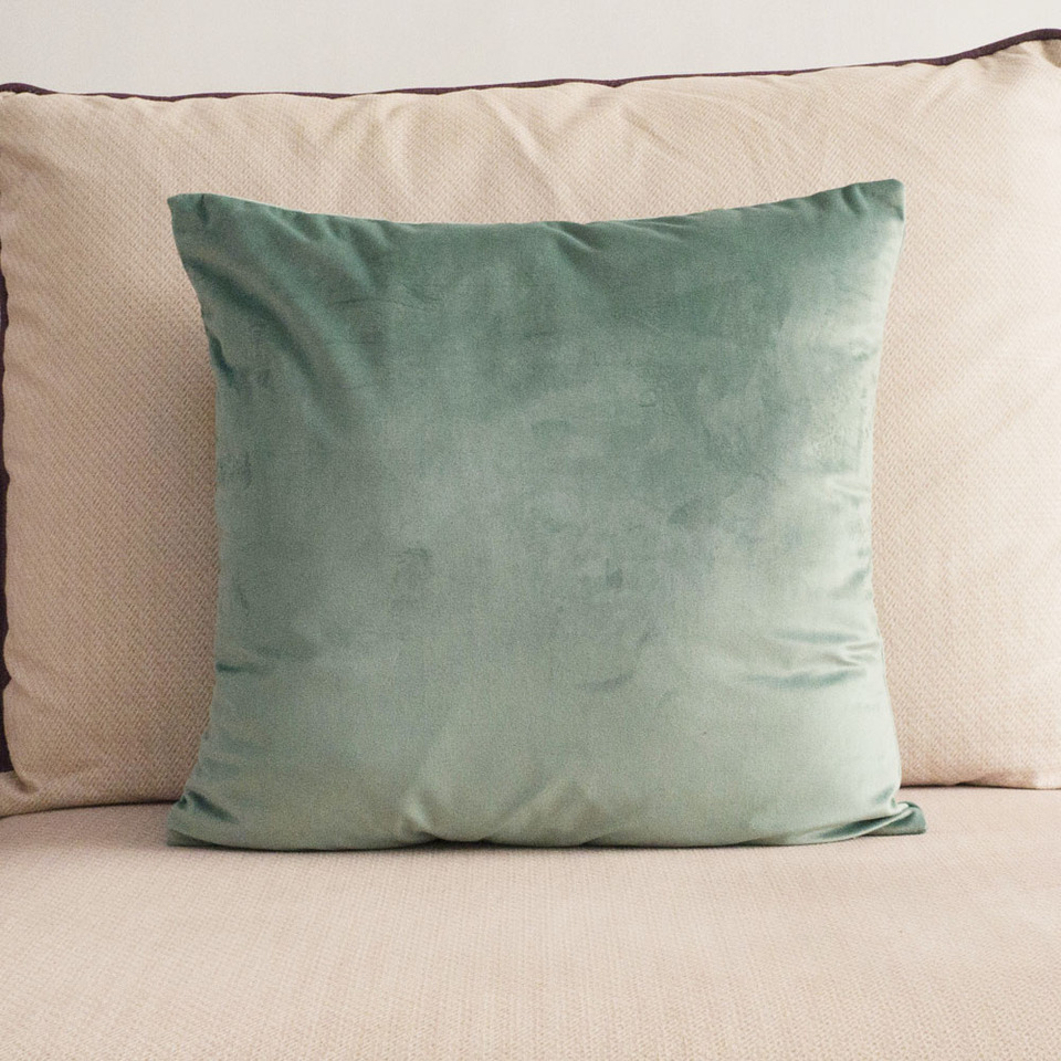 Soft Light Green Velvet Cushion Cover