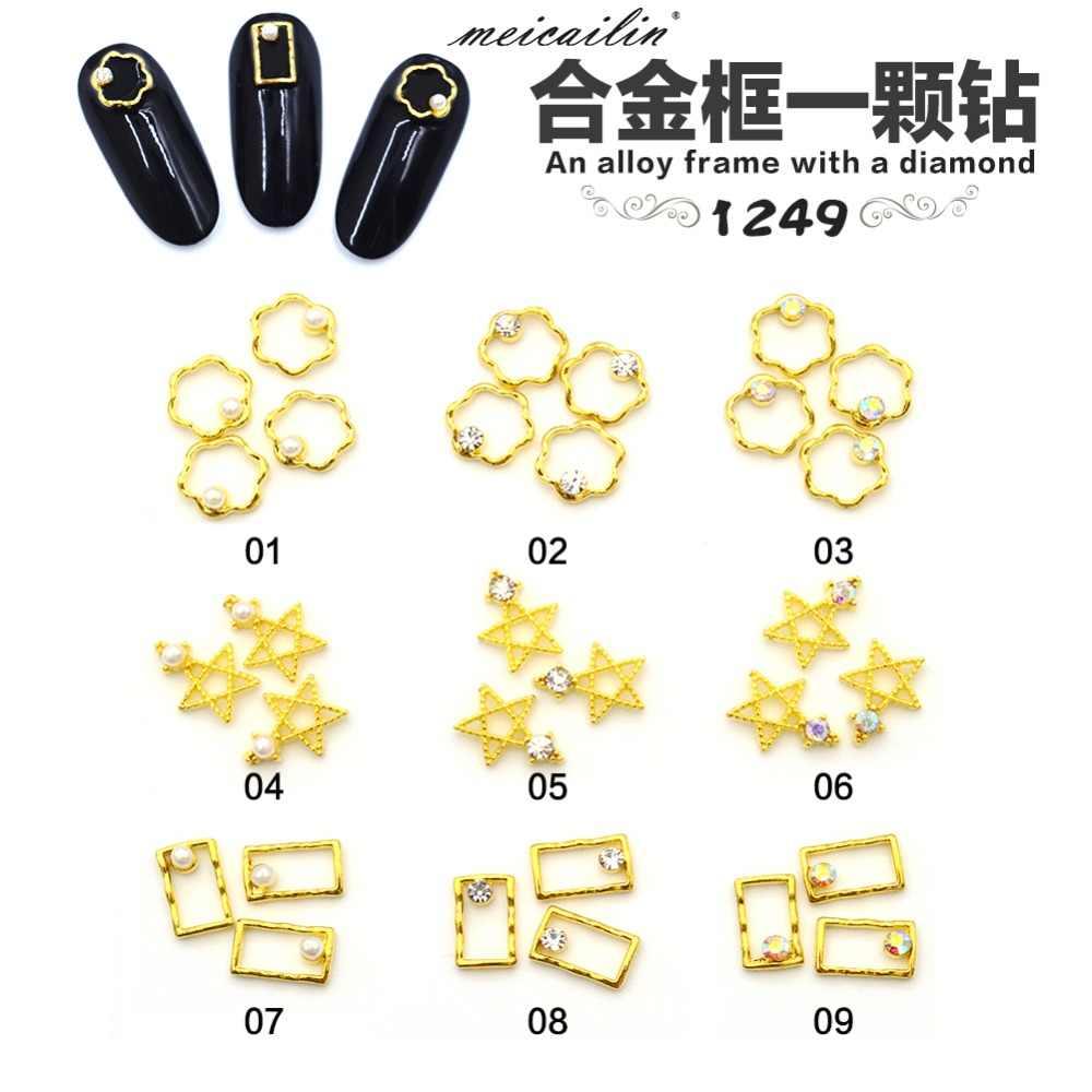 20 PCS Ouro Japonês de Prata Oco Flor Com Strass 3D Nails Decoração Estrela Diamante de Metal Manicure Decorações Da Arte Do Prego