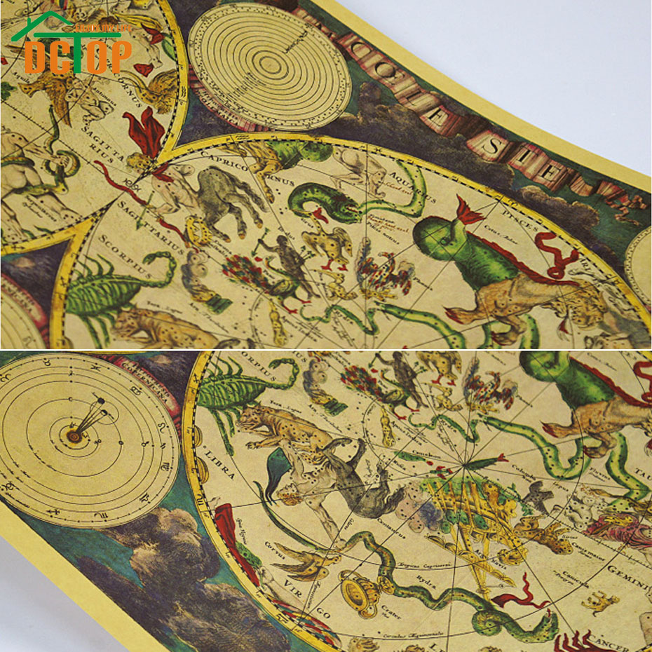 DCTOP Painting Vintage Ancient Zodiac Constellation Map Poster Kraft ...