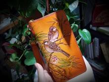 Vintage handmade wallets women clutch purse wallet Ladies Card clip zipper coin purse leather Female wallet painting design
