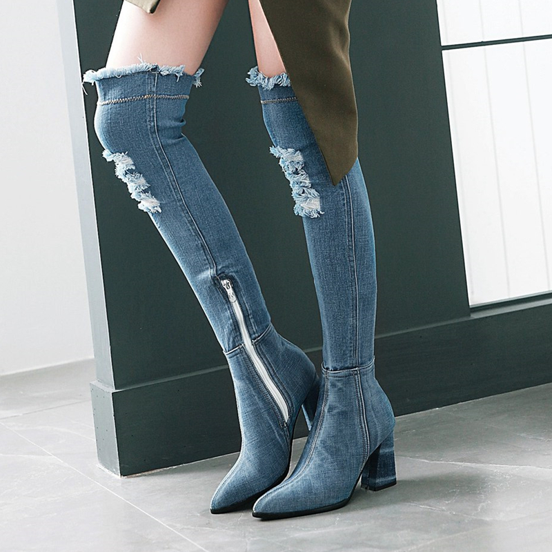 S Romance 2018 Women Boots Plus Size 34 43 High Square Heels Knee High Boots Ladies