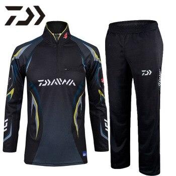 Men DAIWA Fishing Clothes Men Long Sleeve Fishing Shirts And Fishing Pants Breathable Quick Dry DAWA Sport Fishing Clothing Sets