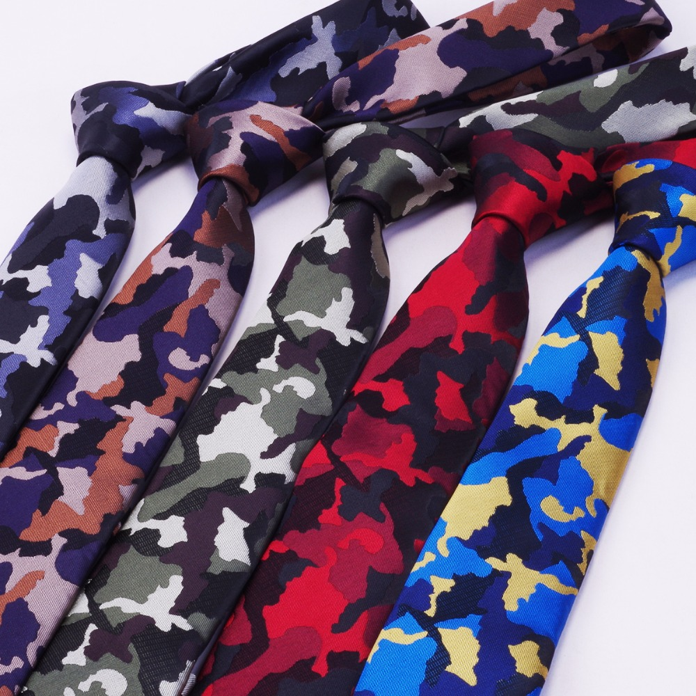 RBOCOTT Hot Sale Mens Slim Tie Camouflage mustrilised lipsud 6cm kaelapaelad Fashion Skinny Tie meestele