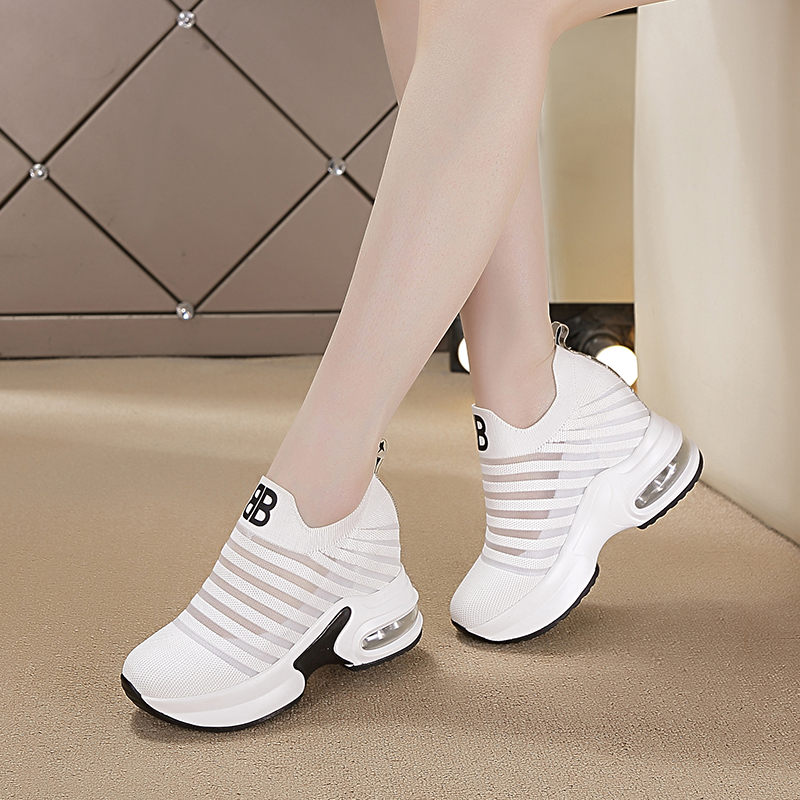 Dumoo Girl High Heel Shoes Women Sneakers Shoes Hidden Heel 8cm Black/White Tenis Platform Shoes Sneakers zapatillas mujer image
