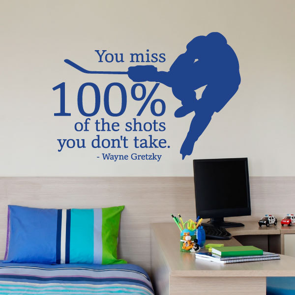Sport Quote Wall Sticker You Miss 100% Of The Shots You Don't Take Wayne Gretzky Hockey Sports Inspirational Boys Decals  SYY224