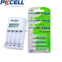 12x2200MAH Low Self Discharge 2A Rechargeable Batteries LSD 4slot EU/US LCD Indicator Charger For 1to4pcs AA/AAA NICD/NIMH Batte