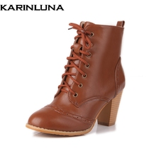 KARINLUNA New Big Size 34-48 Customized Square High Heels British Style Women Ankle Boots Shoes Retro Autumn Winter Shoes