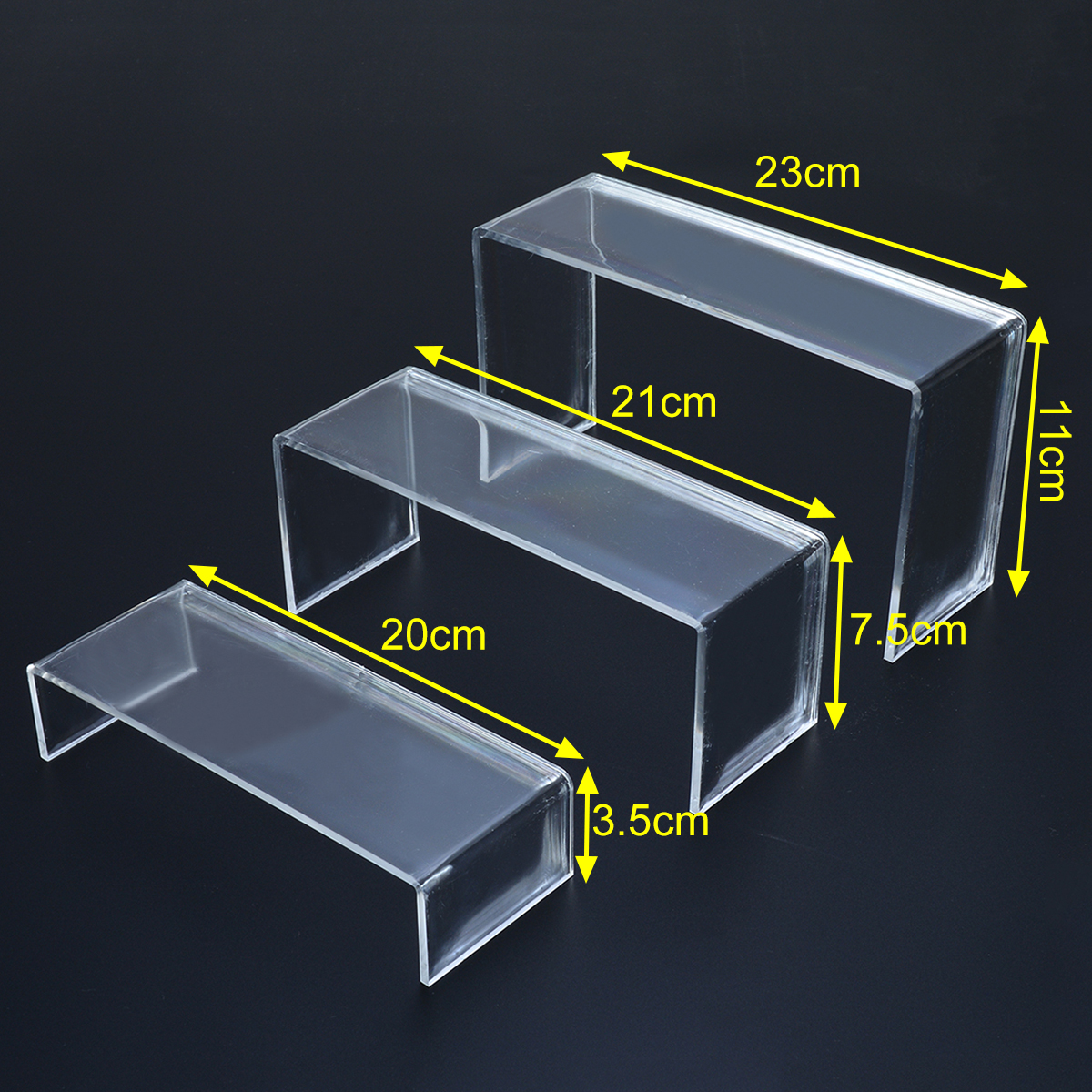 3Pcs Transparent Acrylic Display Stand Shoes Storage Rack Shoe Display Racks Cosmetics Display Holder Office Home Supplies