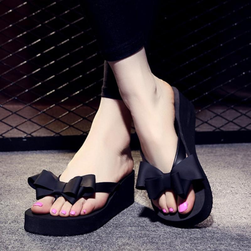 2018 New Women Fashion Platform Mid Heel Flip Flops Beach Sandals Bowknot Slippers Shoes2018 New Women Fashion Platform Mid Heel Flip Flops Beach Sandals Bowknot Slippers Shoes