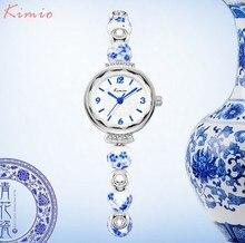Kimio marca señoras de cerámica relojes pulsera mujeres vestido casual de negocios reloj de moda vintage de flores de cuarzo reloj de pulsera para mujer