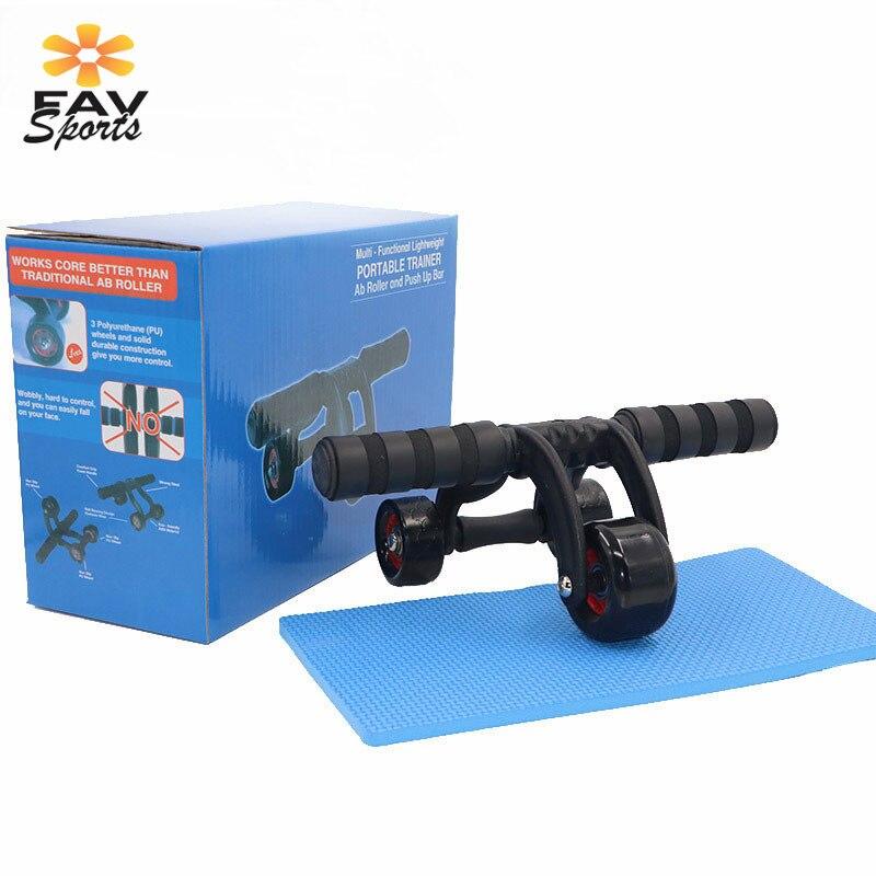 3 roues AB rouleau de roue abdominale avec genouillère Fitness entraîneur musculaire Crossfit exercices équipement musculation maison Gym
