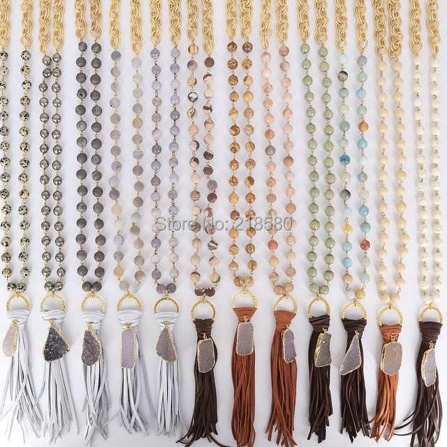 N15111020 Rosary Chain Necklace Gold Chain Knot Leather Tassel with Agates Druzy Pendant Necklace Female Necklace bone pendant chain necklace