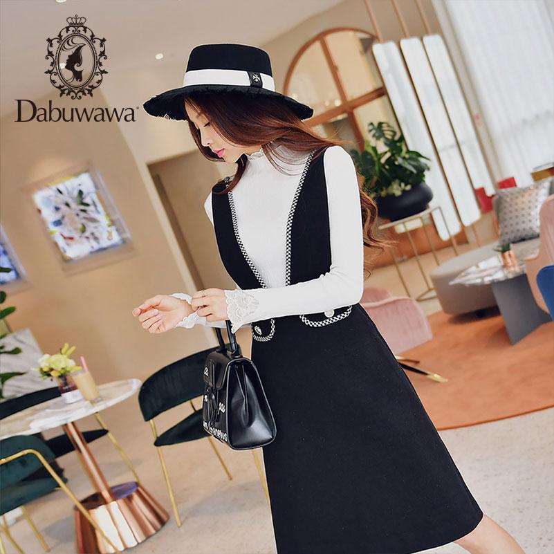 Dabuwawa Spring Black V Neck Elegant Skirts Women New Fashion A Line Swing Strap Skirts D18DRS004
