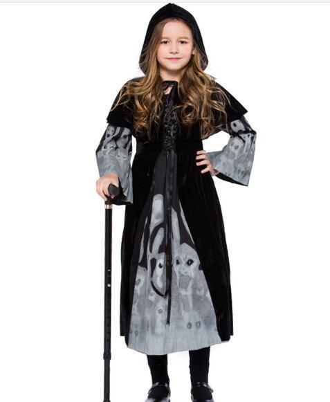Girl Horror Dress Up Fantasia Disfraces Halloween Costumes Children Kids  Vampire Cosplay Witch Costume Game Uniforms Vampire