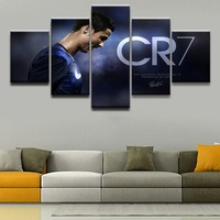 5 Panel Sports Cristiano Ronaldo Poster Modern Home Wall Decorative Canvas Picture Art HD Print Painting