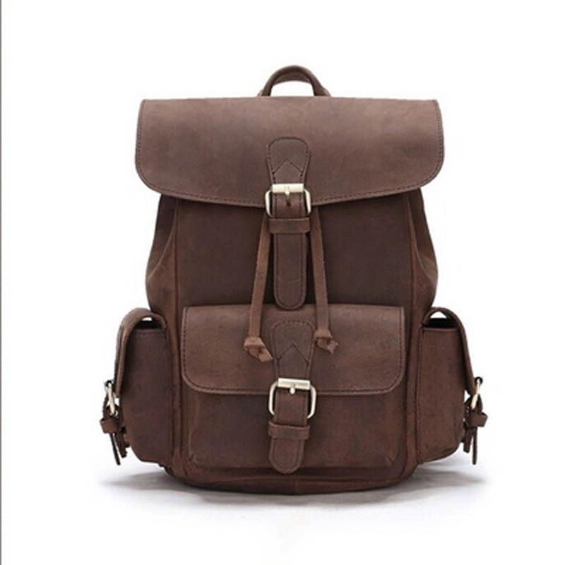 Vintage Genuine Leather Backpacks School For Teenagers Grils Boys Bag Multi-pockets Backpack Bag For Men Women Mochila LS169