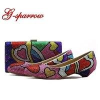 Разноцветные свадебные туфли со стразами Представительская обувь и клатч 3 см на низком каблуке Туфли для выпускного вечера с подходящая Су
