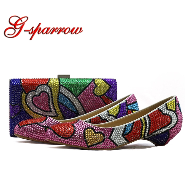 Multicolor Rhinestone Wedding Formal Dress Shoes and Clutch 3cm Low Heel Party Prom Shoes with Matching Bag Plus Size 44