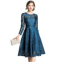 Женское винтажное кружевное платье с круглым вырезом