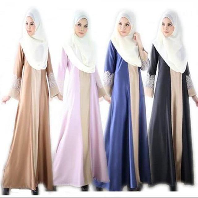 2016 Vestuário Islâmico Para As Mulheres O Novo 2017 High-grade Pura Muçulmano Malay Indonésia Vestido de Renda Verão de Manga Menos mulheres Abaya