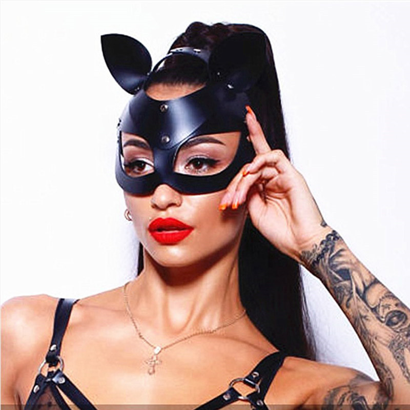 Fashion Metal Rivets Cat <font><b>Masks</b></font> Women Masquerade <font><b>Mask</b></font> For Carnival <font><b>Halloween</b></font> <font><b>Sexy</b></font> Masquerade Half Face Ball Party <font><b>Masks</b></font> For Lady image