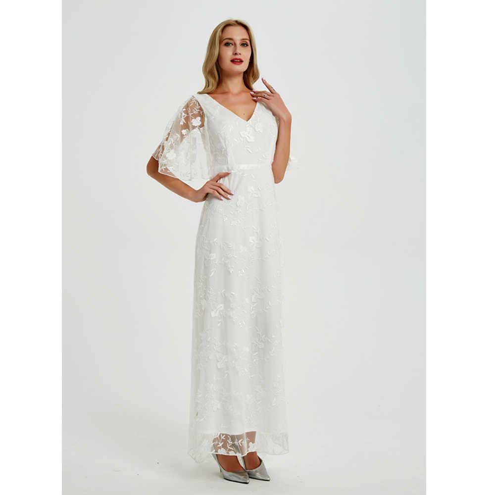 2019 nuevo vestido largo Sexy con cuello en V profundo Casual vestido de fiesta sin espalda sin mangas vestidos blancos ropa de vacaciones